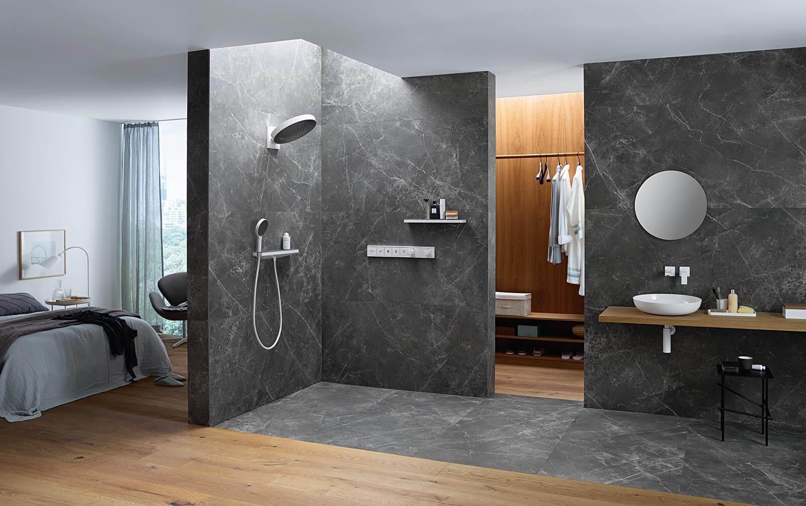 Zestaw armatury łazienkowej od Hansghrohe z kolekcji Rainfinity